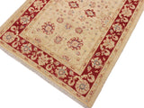 "A11890, 3' 4"" X  4' 9"",Traditional                   ,3' x 5',Natural,RED,Hand-knotted                  ,Pakistan   ,100% Wool  ,Rectangle  ,652671216237"