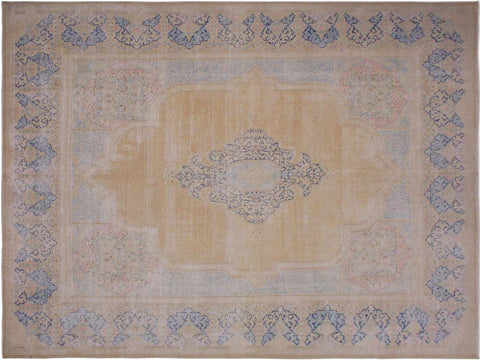 handmade Vintage Distressed Brown Blue Hand Knotted RECTANGLE 100% WOOL area rug 10' x 13'