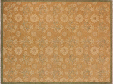 handmade Transitional Kafkaz Brown Green Hand Knotted RECTANGLE 100% WOOL area rug 10' x 14'