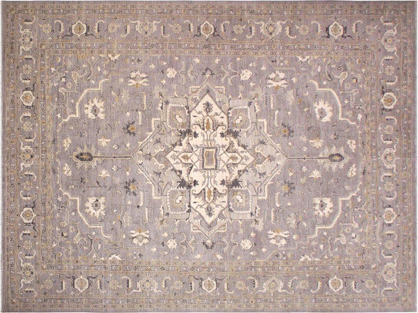 handmade Traditional Kafkaz Grey Ivory Hand Knotted RECTANGLE 100% WOOL area rug 10x14'