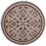 handmade Traditional Kafkaz Ivory Brown Hand Knotted ROUND 100% WOOL area rug 10x10'