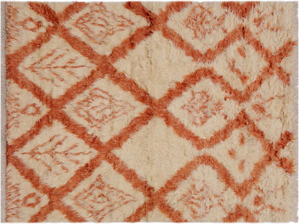 handmade Modern Moroccan Ivory Rust Hand Knotted RECTANGLE 100% WOOL area rug 4x6'
