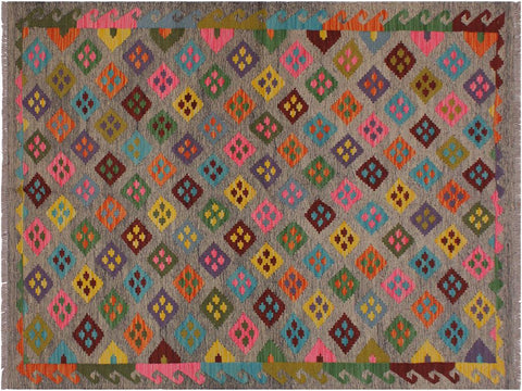 "A11922, 4'10"" X  6' 5"",Geometric                     ,5' x 6',Grey,PINK,Hand-woven                    ,Pakistan   ,100% Wool  ,Rectangle  ,652671216527"