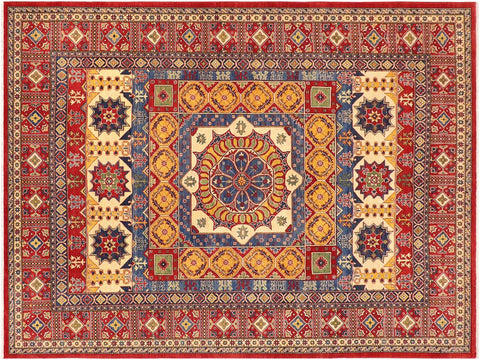 handmade Geometric Kazak Red Blue Hand Knotted RECTANGLE 100% WOOL area rug 10 x 14