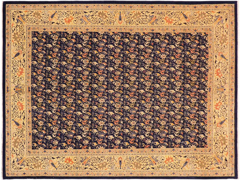 "A01192, 9'10"" X 13' 6"",Transitional                  ,10' x 14',Blue,GOLD,Hand-knotted                  ,Pakistan   ,100% Wool  ,Rectangle  ,652671132988"