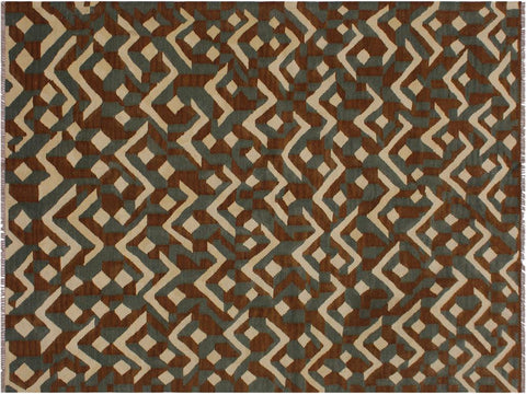 "A11936, 5' 0"" X  6' 8"",Geometric                     ,5' x 7',Brown,IVORY,Hand-woven                    ,Pakistan   ,100% Wool  ,Rectangle  ,652671216657"