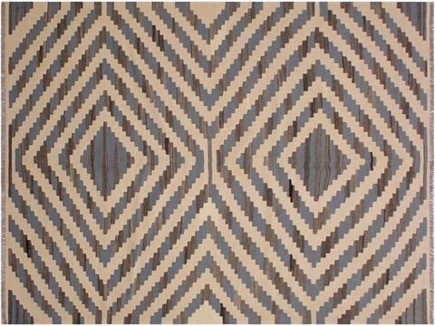 handmade Geometric Kilim Ivory Grey Hand Woven RECTANGLE 100% WOOL area rug 6 x 9