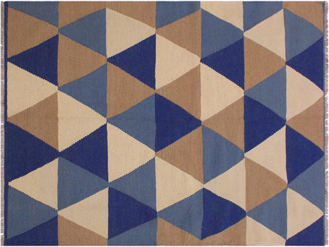 "A11946, 4' 0"" X  6' 1"",Geometric                     ,4' x 6',Natural,BLUE,Hand-woven                    ,Pakistan   ,100% Wool  ,Rectangle  ,652671216756"