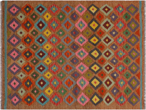 "A11957, 5' 0"" X  6' 4"",Geometric                     ,5' x 6',Brown,PINK,Hand-woven                    ,Pakistan   ,100% Wool  ,Rectangle  ,652671216862"