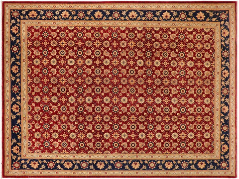 "A01195, 9'11"" X 14' 2"",Transitional                  ,10' x 14',Red,DRK. BLUE,Hand-knotted                  ,Pakistan   ,100% Wool  ,Rectangle  ,652671133015"