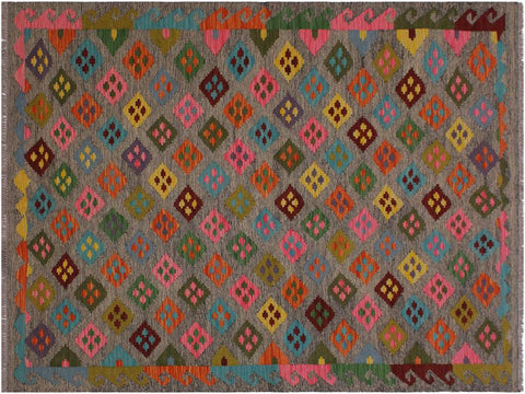 "A11974, 4'11"" X  6' 6"",Geometric                     ,5' x 7',Grey,PINK,Hand-woven                    ,Pakistan   ,100% Wool  ,Rectangle  ,652671217012"