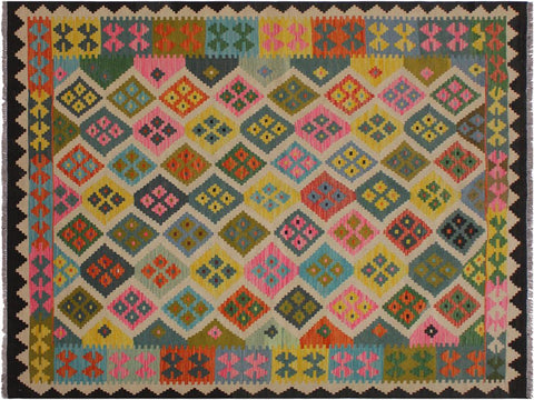 "A11975, 5' 9"" X  8' 0"",Geometric                     ,6' x 8',Black,IVORY,Hand-woven                    ,Pakistan   ,100% Wool  ,Rectangle  ,652671217029"