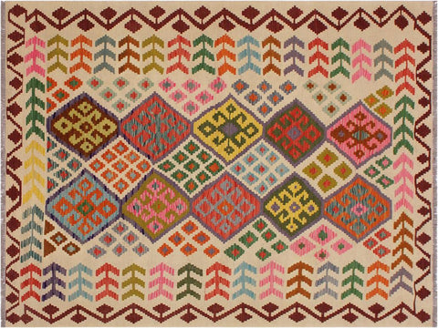 "A11981, 5' 9"" X  7' 6"",Geometric                     ,6' x 8',Natural,RED,Hand-woven                    ,Pakistan   ,100% Wool  ,Rectangle  ,652671217081"