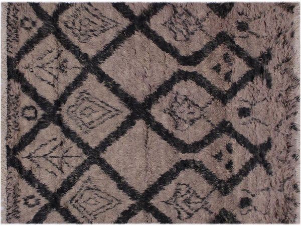handmade Modern Moroccan Brown Black Hand Knotted RECTANGLE 100% WOOL area rug 4x6'
