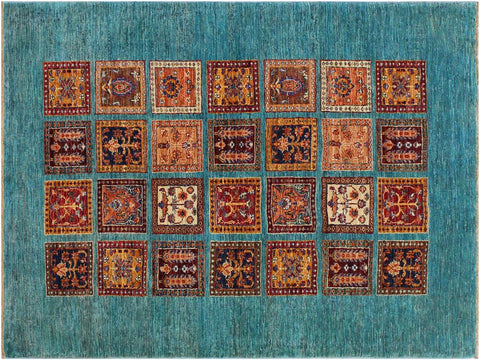 "A12000, 3'10"" X  5'10"",Geometric                     ,4' x 6',Green,RUST,Hand-knotted                  ,Pakistan   ,100% Wool  ,Rectangle  ,652671217258"
