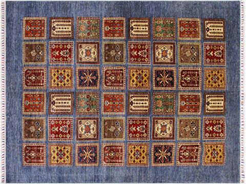 "A12001, 6' 1"" X  8' 8"",Geometric                     ,6' x 9',Blue,RED,Hand-knotted                  ,Pakistan   ,100% Wool  ,Rectangle  ,652671217265"