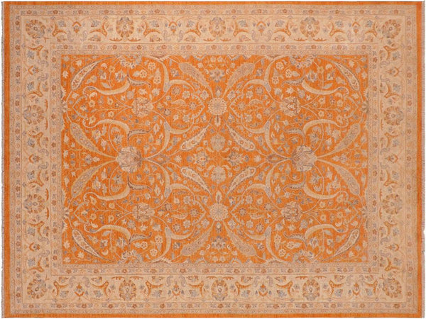 "A12007, 9' 9"" X 13' 7"",Traditional                   ,10' x 14',Orange,IVORY,Hand-knotted                  ,Pakistan   ,100% Wool  ,Rectangle  ,652671217319"