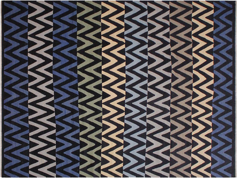 "A12010, 9' 4"" X 12' 3"",Geometric                     ,9' x 12',Black,BLUE,Hand-woven                    ,Pakistan   ,100% Wool  ,Rectangle  ,652671217340"