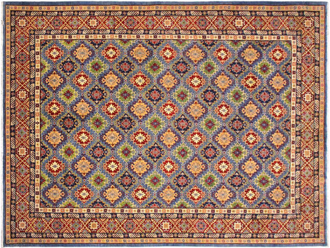 handmade Geometric Kazak Lt. Blue Red Hand Knotted RECTANGLE 100% WOOL area rug 10 x 14
