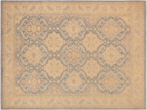 handmade Transitional Kafkaz Blue Beige Hand Knotted RECTANGLE 100% WOOL area rug 10' x 14'