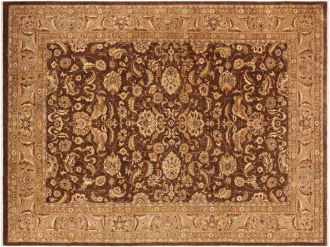 handmade Traditional Kafkaz Brown Beige Hand Knotted RECTANGLE 100% WOOL area rug 10' x 14'
