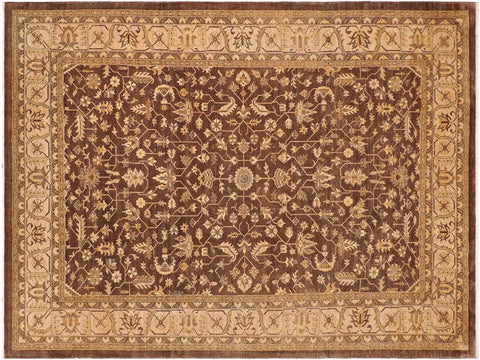 handmade Geometric Kafkaz Brown Tan Hand Knotted RECTANGLE 100% WOOL area rug 10x14