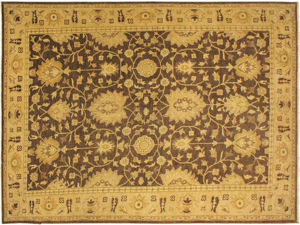 handmade Traditional Kafkaz Brown Gold Hand Knotted RECTANGLE 100% WOOL area rug 10x14
