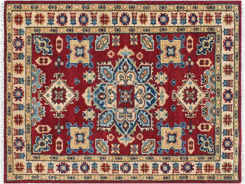 handmade Geometric Kazak Red Beige Hand Knotted RECTANGLE 100% WOOL area rug 3 x 4