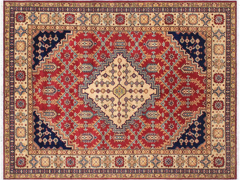 handmade Geometric Kazak Red Beige Hand Knotted RECTANGLE 100% WOOL area rug 6 x 8