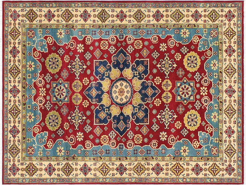 handmade Geometric Kazak Red Beige Hand Knotted RECTANGLE 100% WOOL area rug 6 x 9