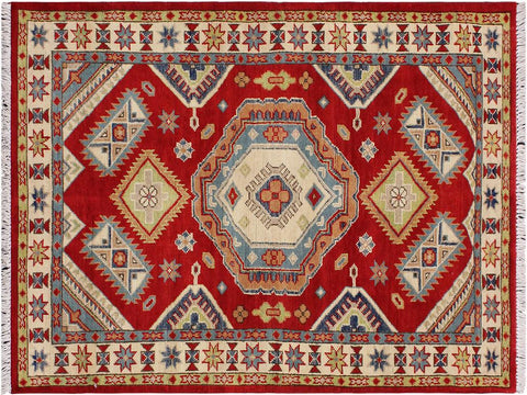 handmade Geometric Kazak Red Beige Hand Knotted RECTANGLE 100% WOOL area rug 3 x 5