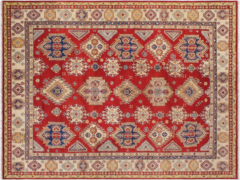 handmade Geometric Kazak Red Beige Hand Knotted RECTANGLE 100% WOOL area rug 9 x 12