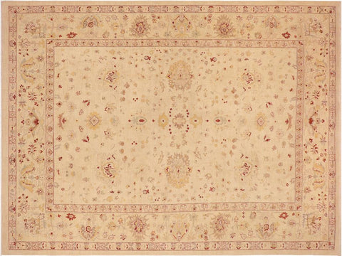 handmade Traditional Kafkaz Beige Gold Hand Knotted RECTANGLE 100% WOOL area rug 10' x 14'