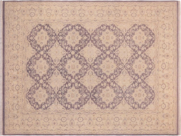 "A01228, 9'11"" X 14' 2"",Transitional                  ,10' x 14',Purple,LT. GRAY,Hand-knotted                  ,Pakistan   ,Wool&silk  ,Rectangle  ,652671133329"