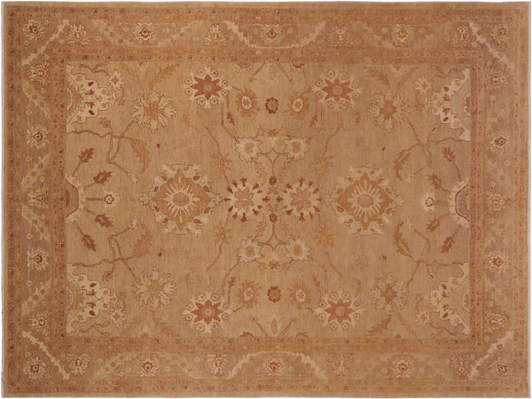 "A01230,10' 2"" X 13' 8"",Traditional                   ,10' x 14',Green,LT. BROWN,Hand-knotted                  ,Pakistan   ,100% Wool  ,Rectangle  ,652671133343"