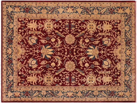 handmade Traditional Kafkaz Drk. Red Teal Hand Knotted RECTANGLE 100% WOOL area rug 10x14