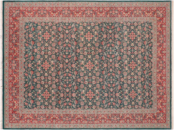 "A01237,10' 1"" X 14' 2"",Traditional                   ,10' x 14',Green,RED,Hand-knotted                  ,Pakistan   ,100% Wool  ,Rectangle  ,652671133411"