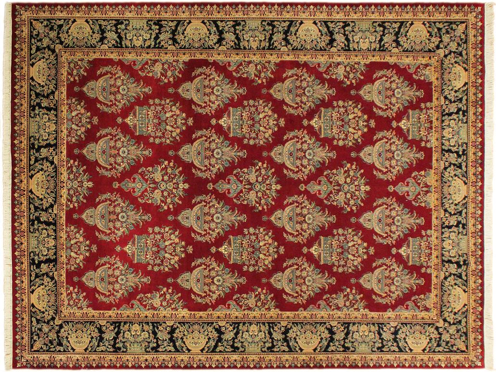 Traditional Tabriz Lana Red Black Hand Knotted Area Rugs 10x15