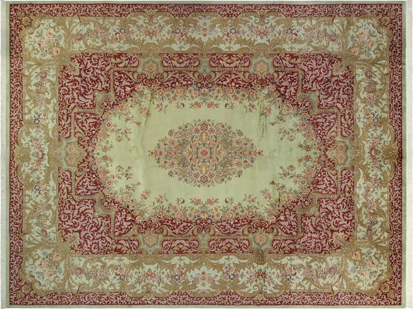 handmade Traditional Abusson Green Maroon Hand Knotted RECTANGLE 100% WOOL area rug 10x14