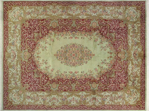 "A01242,10' 0"" X 14' 0"",Traditional,10' x 14',Green,RED,Hand-knotted                  ,Pakistan   ,100% Wool  ,Rectangle  ,652671133466"