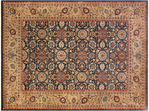 "A01258,10' 3"" X 14' 6"",Traditional                   ,10' x 14',Blue,DARK TAN,Hand-knotted                  ,Pakistan   ,100% Wool  ,Rectangle  ,652671133619"