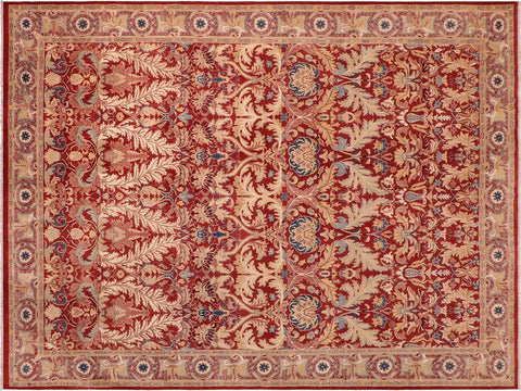 "A01264,10' 0"" X 13' 8"",Traditional                   ,10' x 14',Red,TAN,Hand-knotted                  ,Pakistan   ,100% Wool  ,Rectangle  ,652671133671"