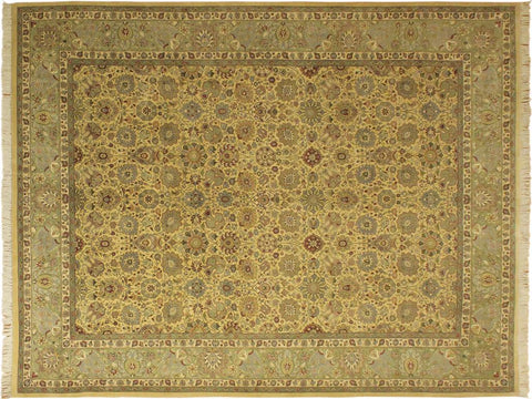 "A01268,10' 1"" X 14' 2"",Traditional                   ,10' x 14',Gold,IVORY,Hand-knotted                  ,Pakistan   ,100% Wool  ,Rectangle  ,652671133718"