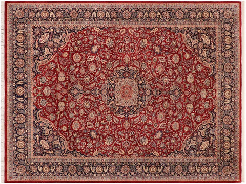 handmade Traditional Kazveen Red Blue Hand Knotted RECTANGLE WOOL&SILK area rug 10x14