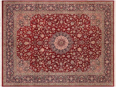 "A01272,10' 0"" X 13' 9"",Traditional,10' x 14',Red,BLUE,Hand-knotted                  ,Pakistan   ,Wool&silk  ,Rectangle  ,652671133756"
