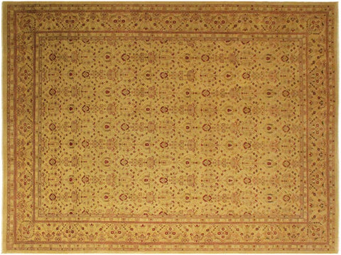handmade Traditional Lahore Gold Gold Hand Knotted RECTANGLE 100% WOOL area rug 10x14