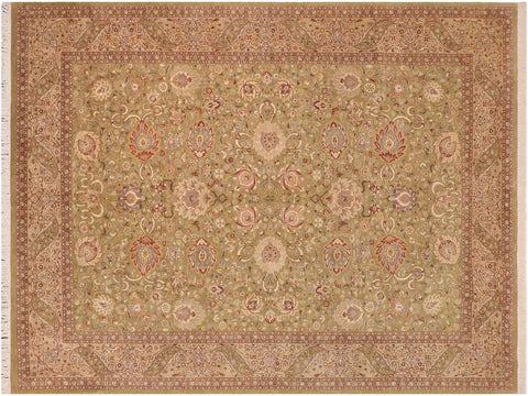 handmade Traditional Kashan Green Beige Hand Knotted RECTANGLE 100% WOOL area rug 10x14