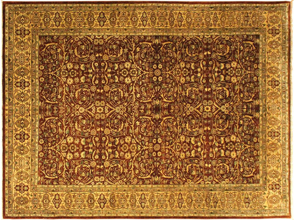 handmade Traditional Lahore Copper Tan Hand Knotted RECTANGLE 100% WOOL area rug 10x14