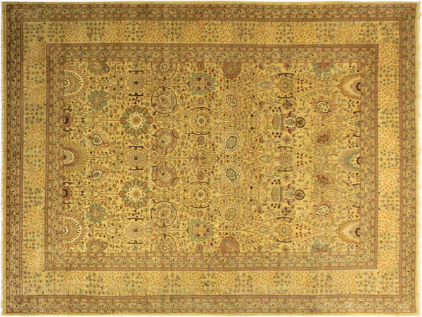 handmade Traditional Design Gold Gold Hand Knotted RECTANGLE 100% WOOL area rug 10x14