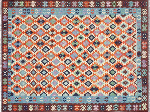 handmade Geometric Kilim Beige Blue Hand Woven RECTANGLE 100% WOOL area rug